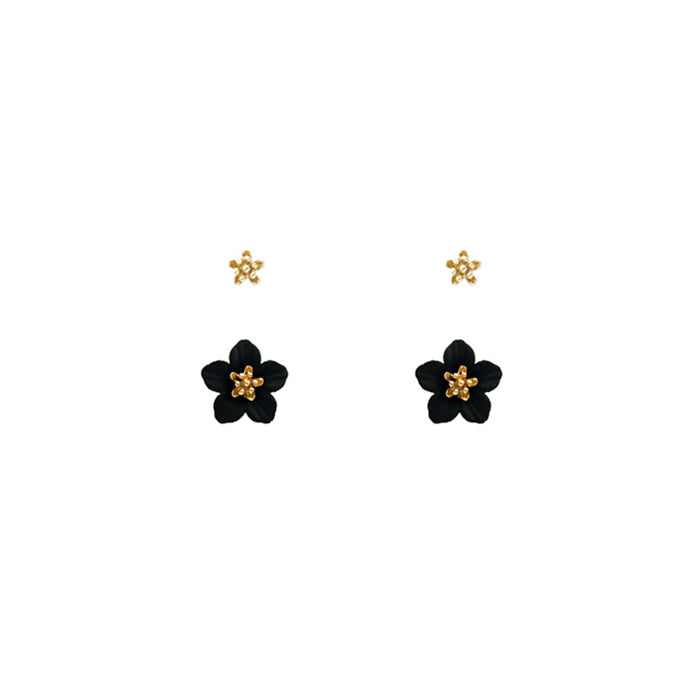 Flower 2 Stud Set - Gold Black-Earrings-Wholesale-Boutique-Clothing-Accessories