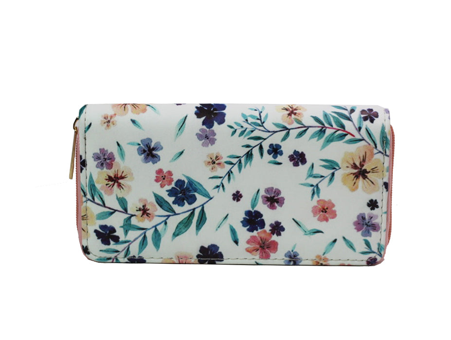 Spring Flowers Zip Around Wallet - White-Wallets-Wholesale-Boutique-Clothing-Accessories