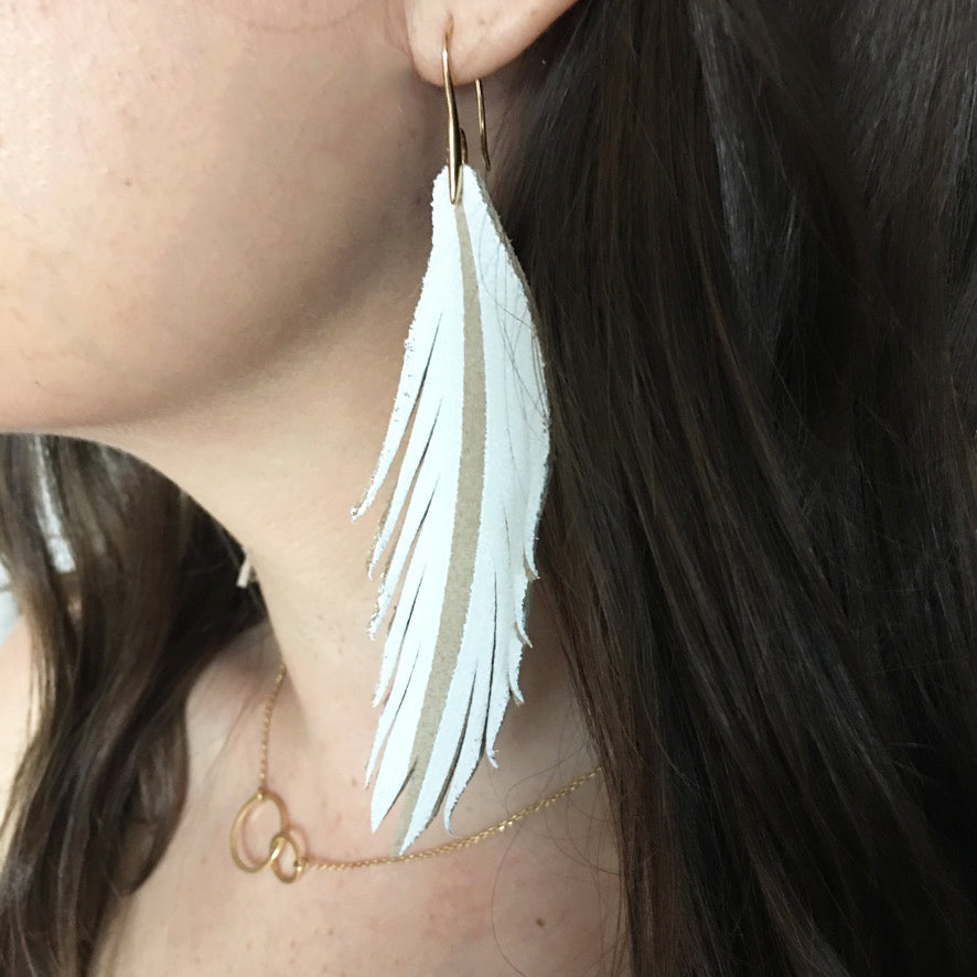 Short Feather Leather Earring - Olive Painted-Short Feather Leather Earrings-Wholesale-Boutique-Clothing-Accessories