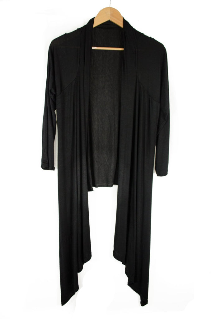 Georgie Solid Long Sleeve Cardigan on Hanger Black
