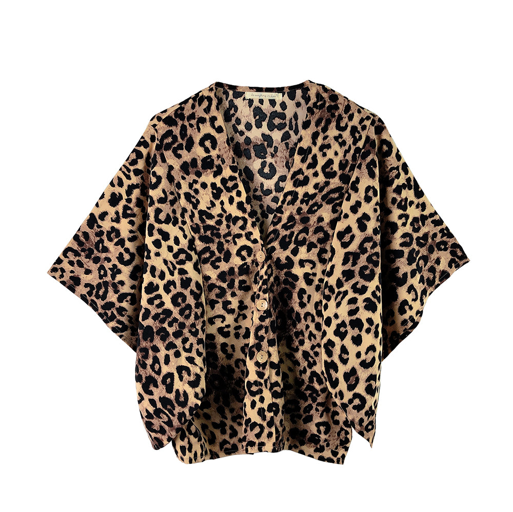 Ginny Leopard Print Button Down Kimono - Brown-Kimonos + Outerwear-Wholesale-Boutique-Clothing-Accessories