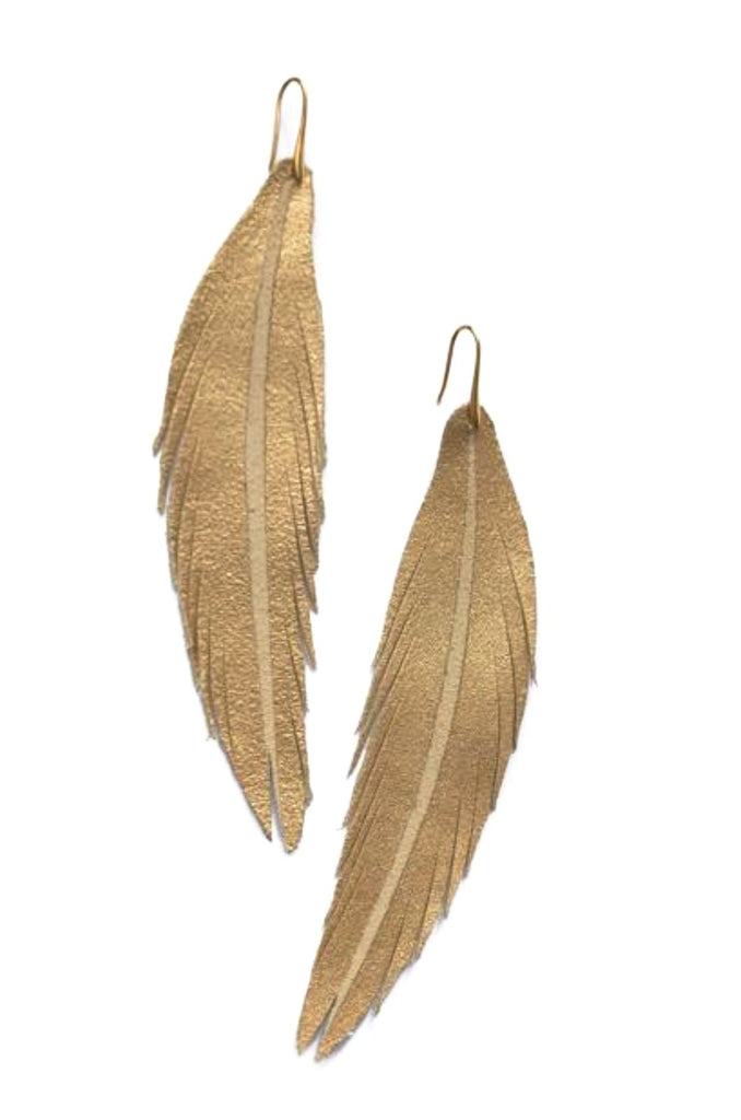 Long Feather Leather Earring - Gold Painted-Long Feather Leather Earrings-Wholesale-Boutique-Clothing-Accessories
