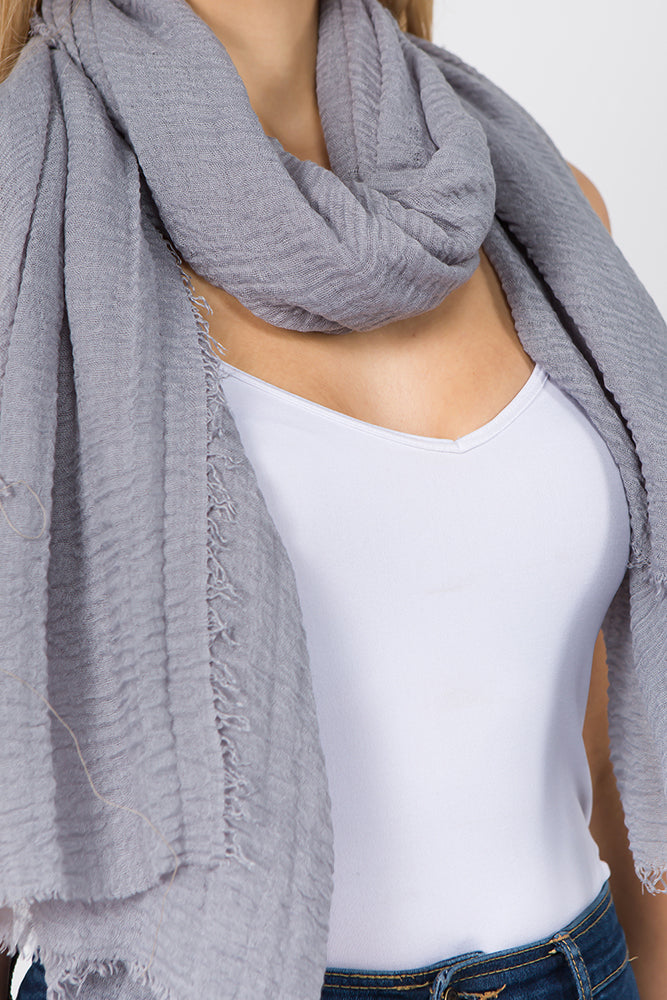Gray Solid Scarf (2 pcs)-Scarves + Wraps-Wholesale-Boutique-Clothing-Accessories