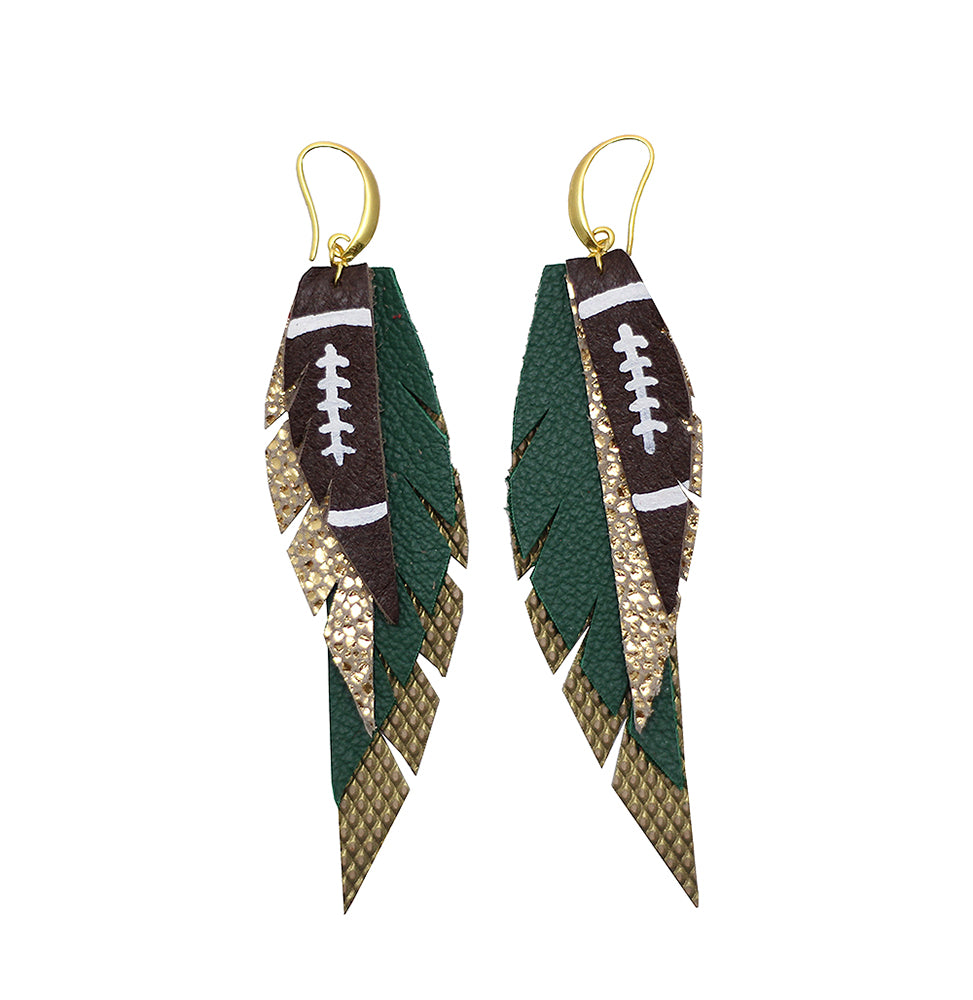 Layered Leather Football Earring- Green Gold
