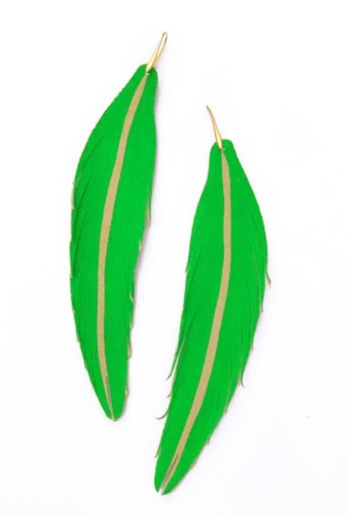 Long Feather Leather Earring - Neon Green Painted-Long Feather Leather Earrings-Wholesale-Boutique-Clothing-Accessories