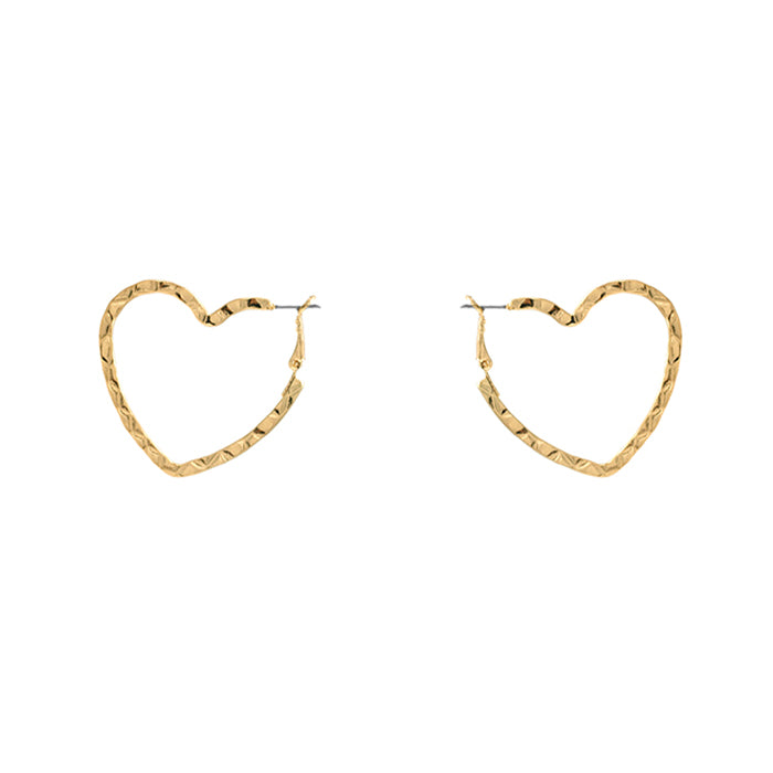 Hammered Heart Hoop Earrings - Worn Gold-Earrings-Wholesale-Boutique-Clothing-Accessories
