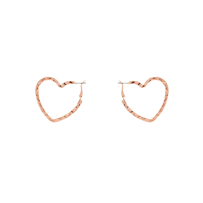 Hammered Heart Hoop Earrings - Worn Rose Gold-Earrings-Wholesale-Boutique-Clothing-Accessories