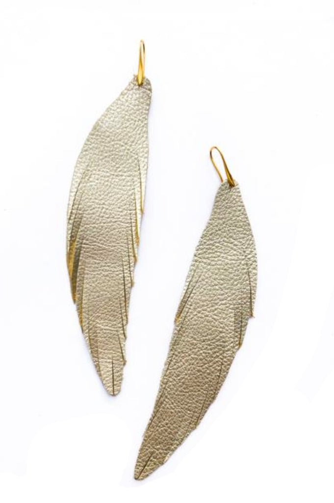 Long Feather Leather Earring - Dark Gold Pebbled-Long Feather Leather Earrings-Wholesale-Boutique-Clothing-Accessories