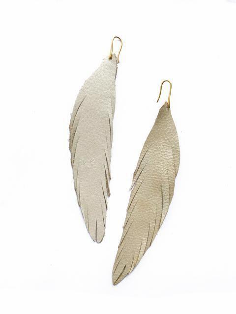 Long Feather Leather Earring - Gold Pebbled-Long Feather Leather Earrings-Wholesale-Boutique-Clothing-Accessories