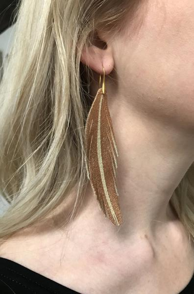 Short Feather Leather Earring - Cobalt Painted-Short Feather Leather Earrings-Wholesale-Boutique-Clothing-Accessories