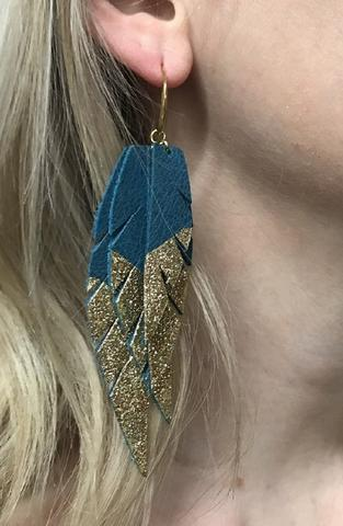 Layered Leather Earring - Teal Green/Gold Dipped