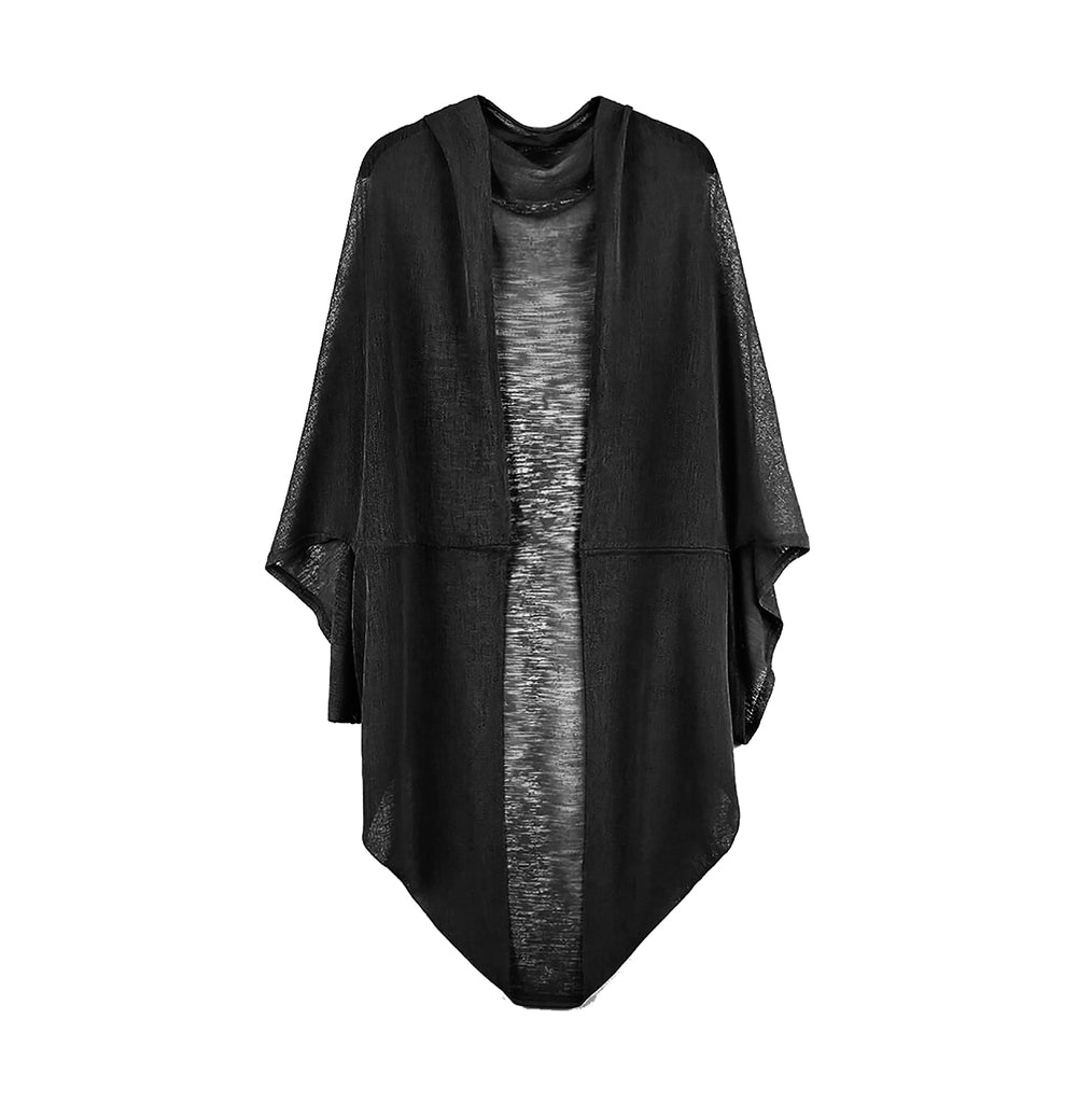 Jade Sheer Lightweight Cocoon Cardigan - Black