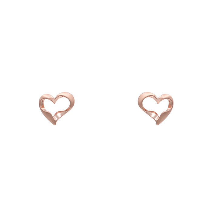 Kaylani Heart Earrings - Worn Rose Gold-Earrings-Wholesale-Boutique-Clothing-Accessories