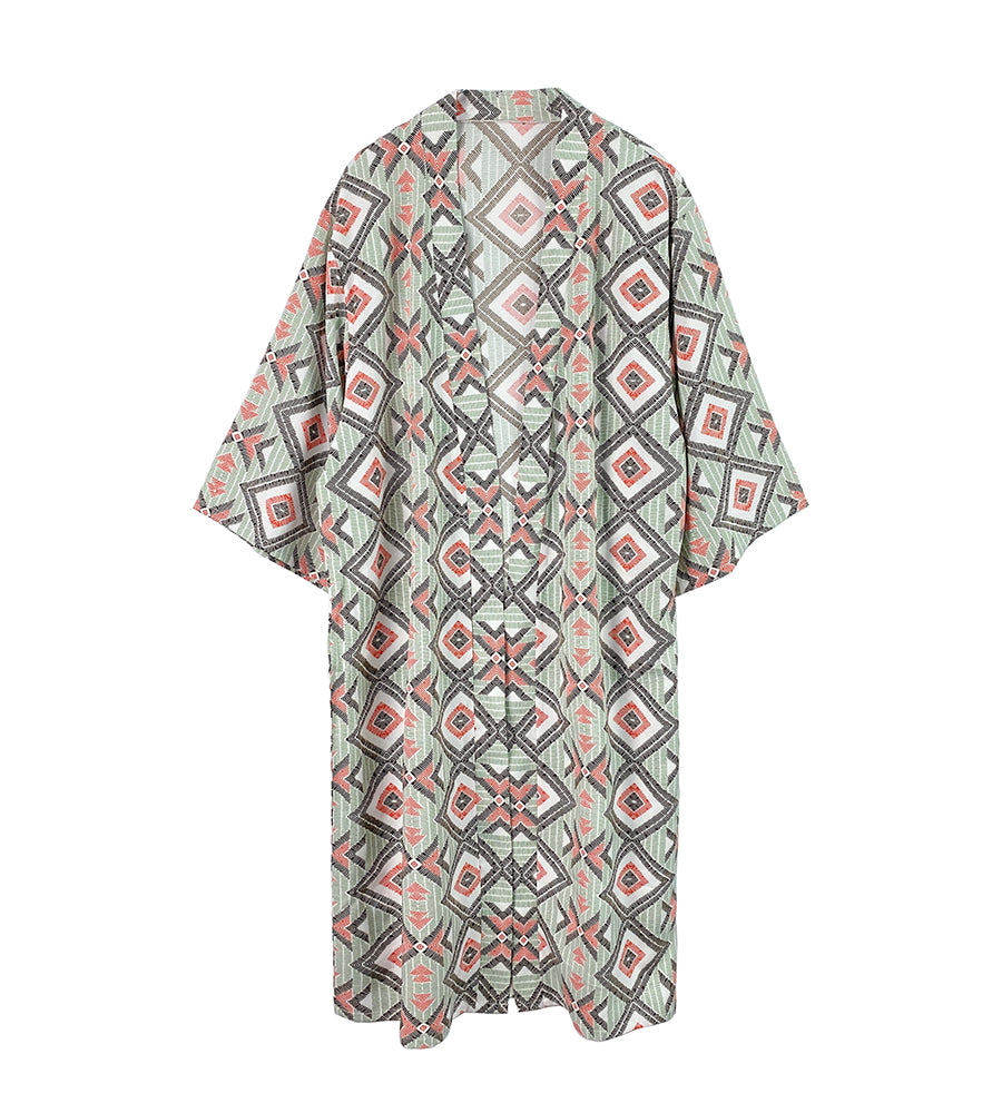 Kyra Geo Print Long Kimono Duster - Green (2 pcs)-Wholesale Apparel-Wholesale-Boutique-Clothing-Accessories