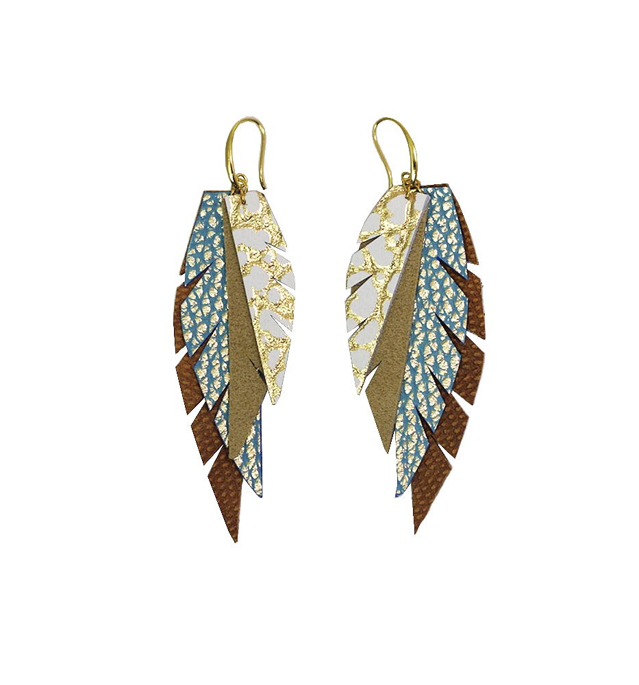Layered Leather Earring- Blue and Gold