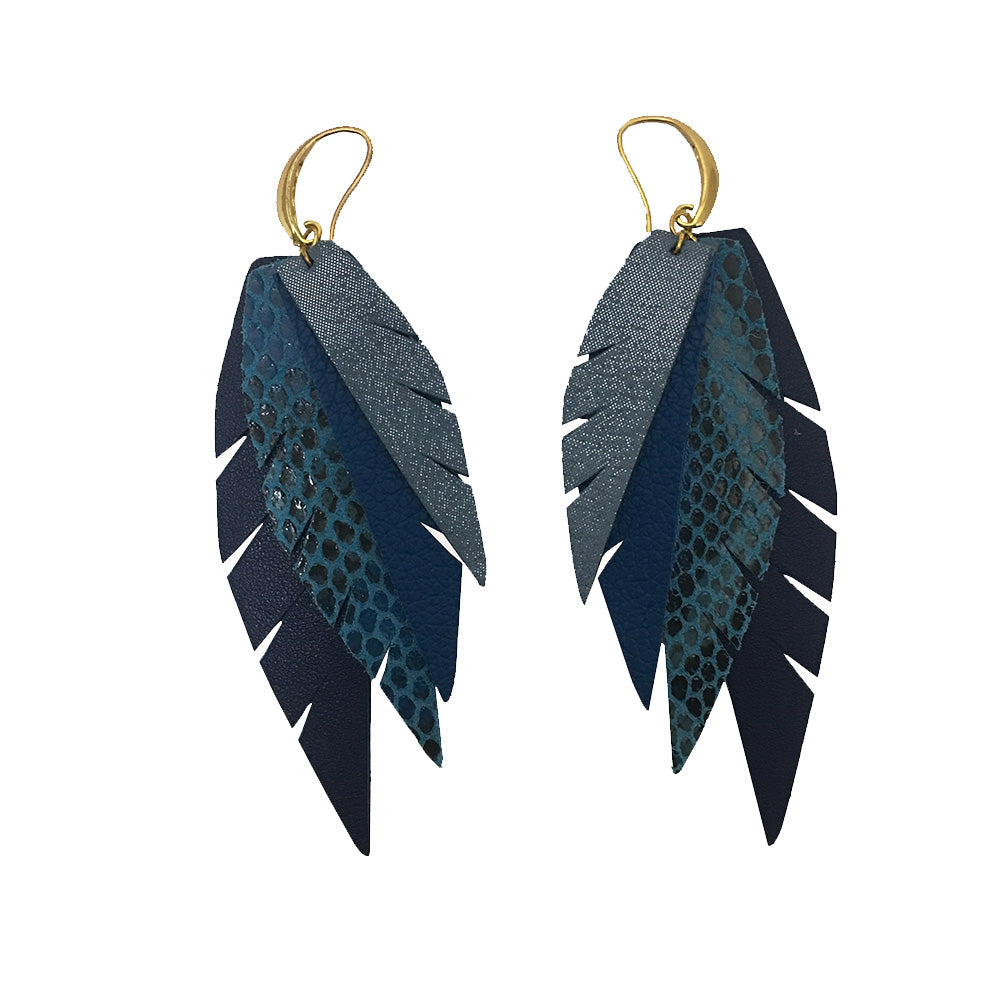 Layered Leather Earring - Blue
