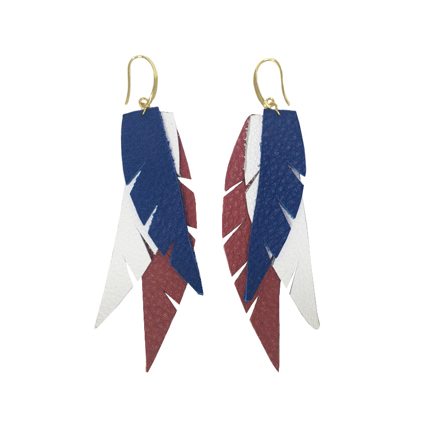 Layered Leather Earrings Red White Blue