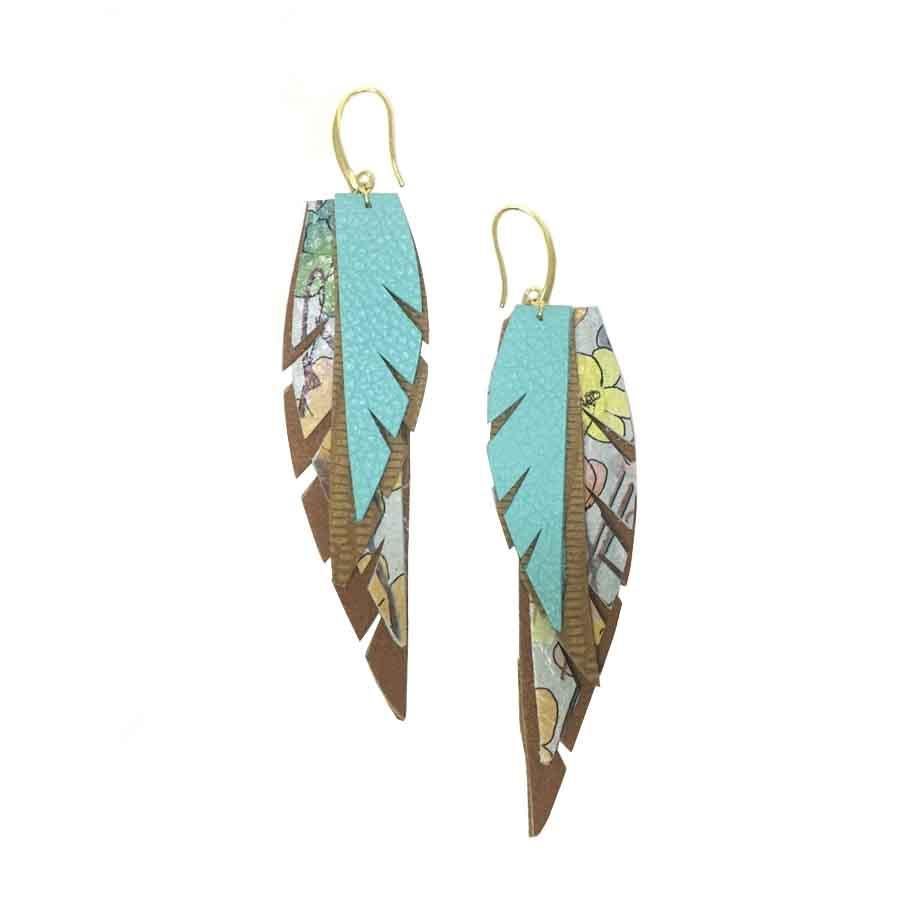 Layered Leather Earrings 2 - Turquoise Tan Floral