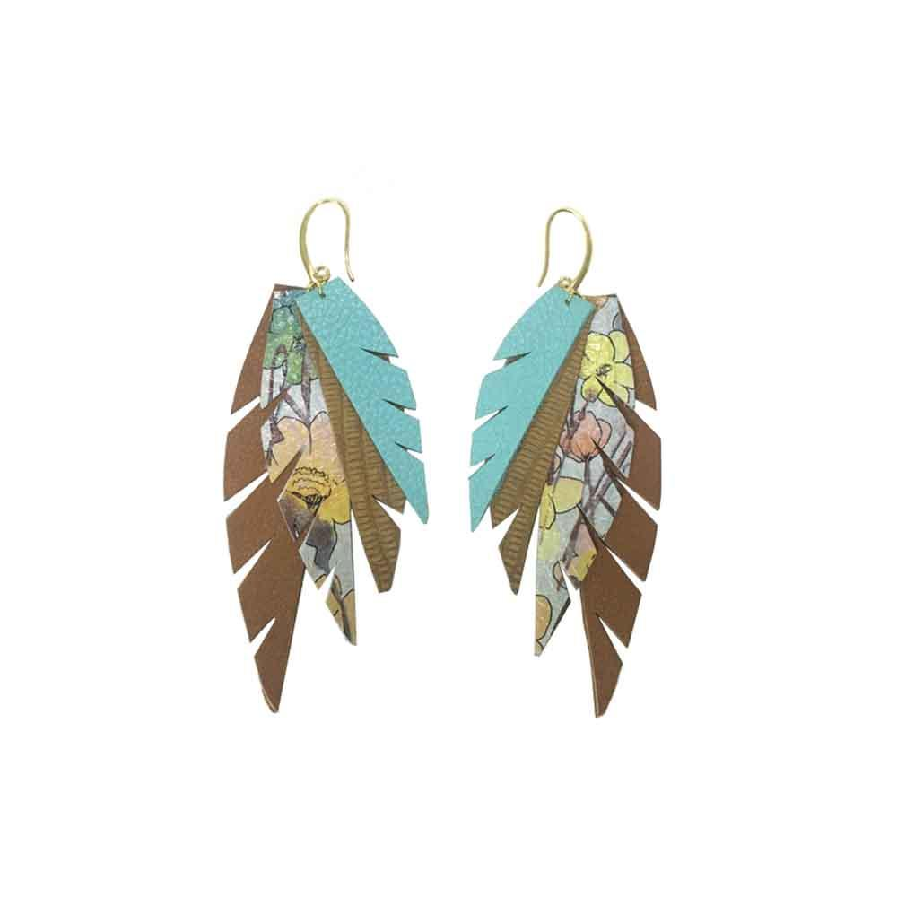 Layered Leather Earrings - Turquoise Tan Floral