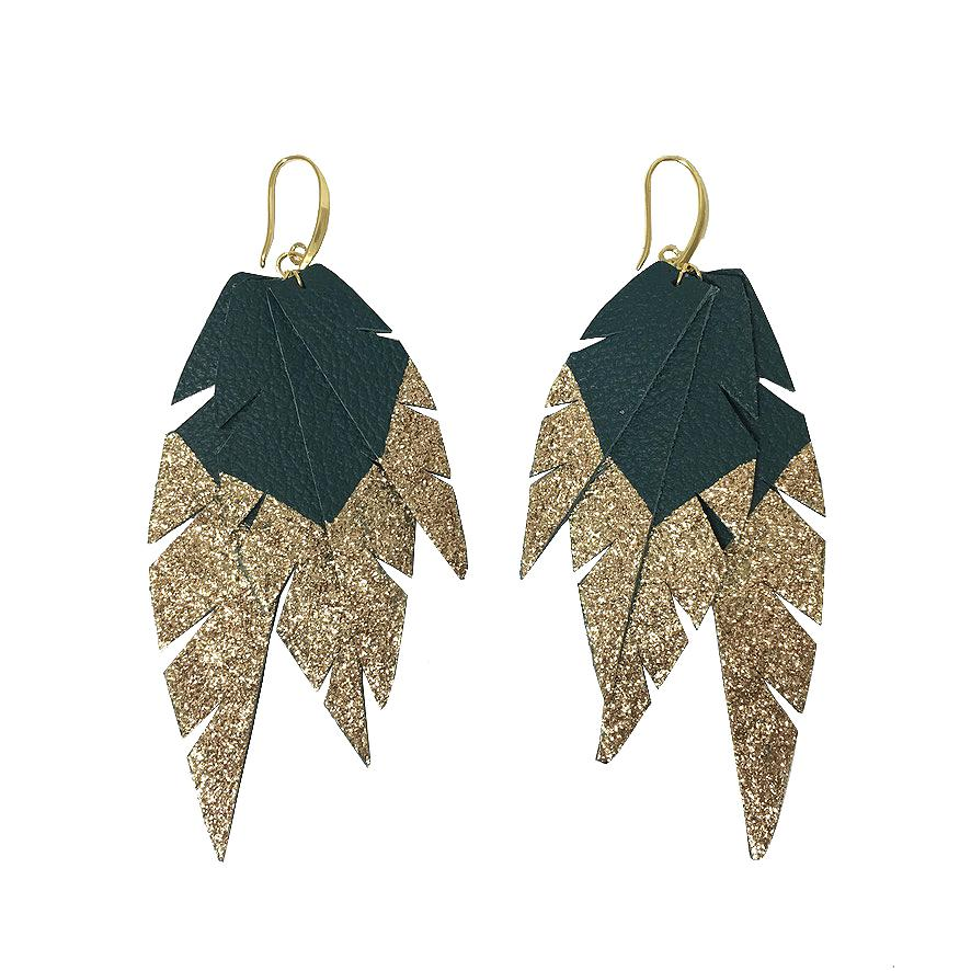 Layered Leather Earrings - Green/Gold Dipped