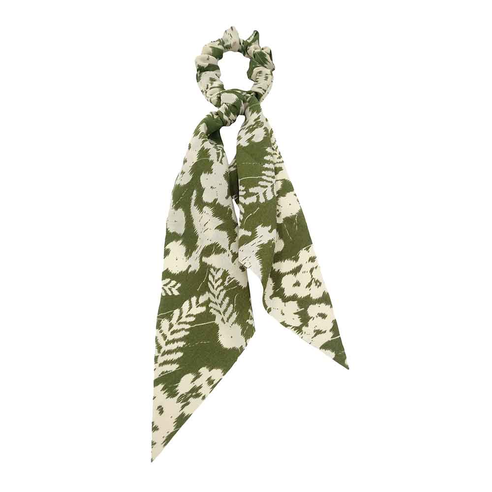 Leaf Print Scarf Pony - Green (2 pcs)-Bandanas & Hair Accessories-Wholesale-Boutique-Clothing-Accessories