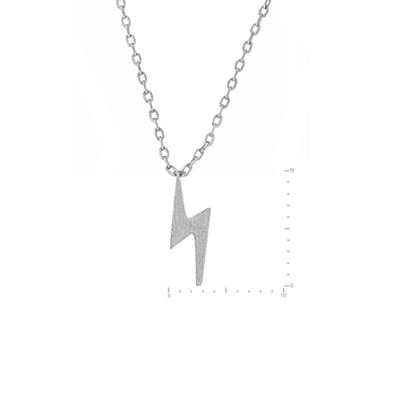 Lightening Bolt Necklace - Silver-Necklaces-Wholesale-Boutique-Clothing-Accessories
