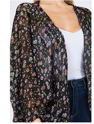 Livi Floral Print Kimono Black Close Up