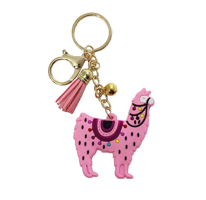 Llama Key Chain - Pink-Key Chains-Wholesale-Boutique-Clothing-Accessories