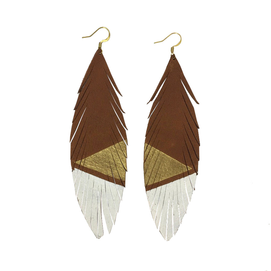 Long Feather Deerskin Leather Painted Earrings Gold White