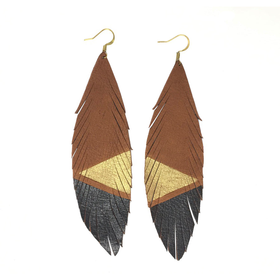 Long Feather Deerskin Leather Painted Earrings Gold Black