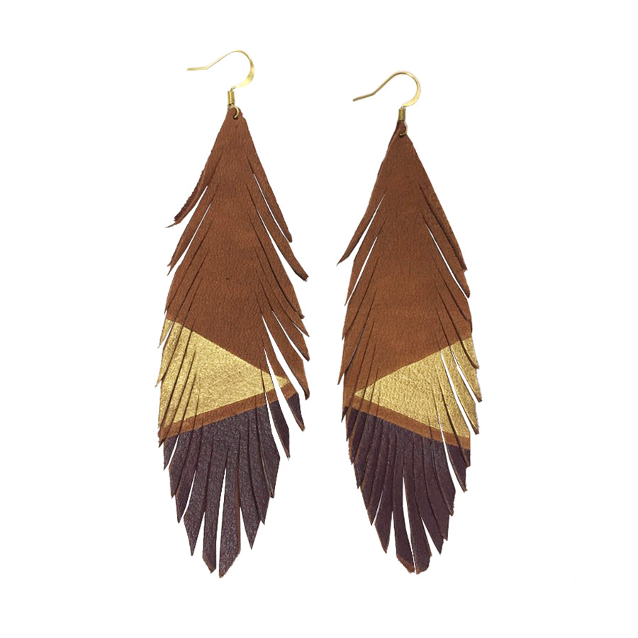 Long Feather Deerskin Leather Painted Earrings Gold Burgundy