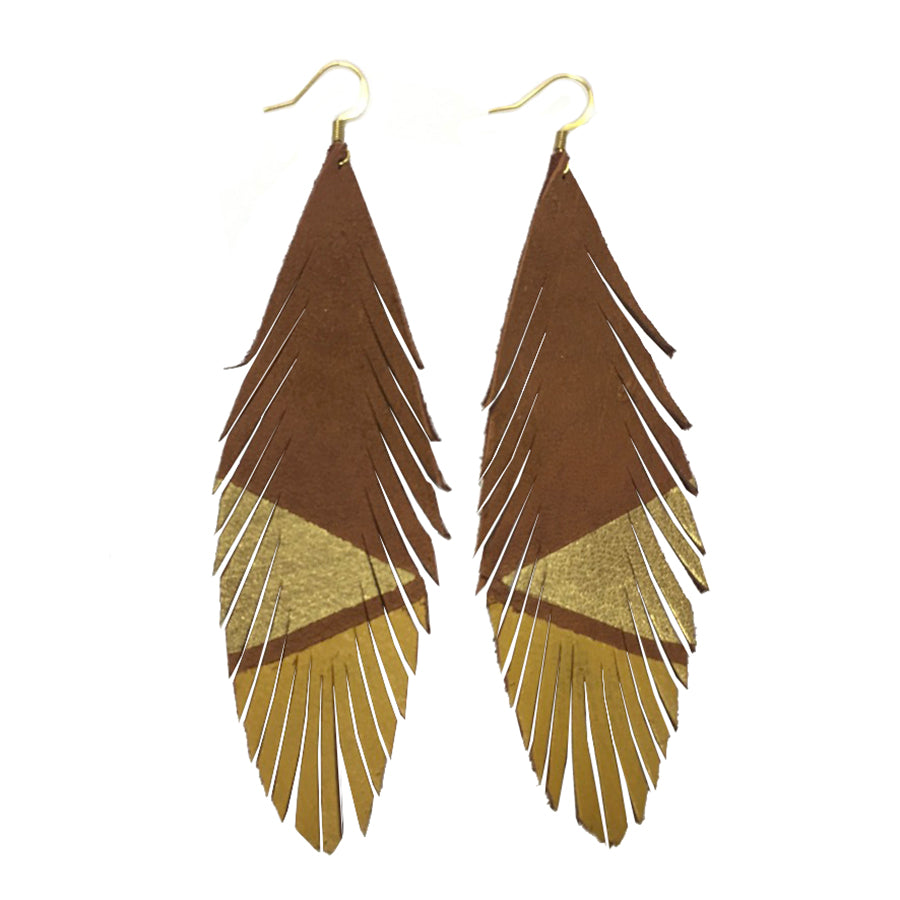 Long Feather Deerskin Leather Painted Earrings Gold Mustard
