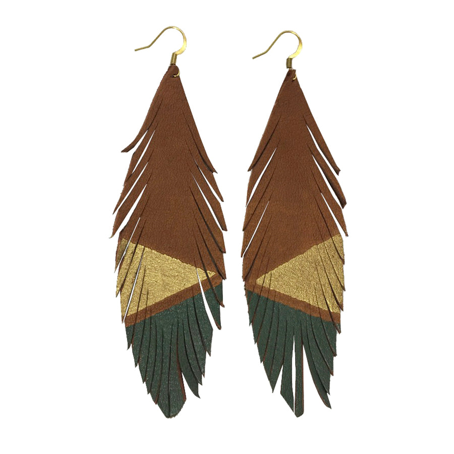 Deerskin Leather Feather Earrings Gold Olive