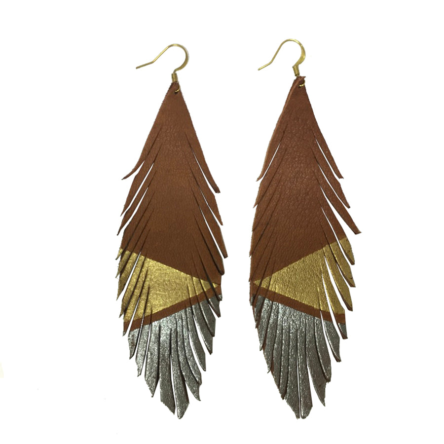 Long Feather Deerskin Leather Painted Earrings Gold Pewter