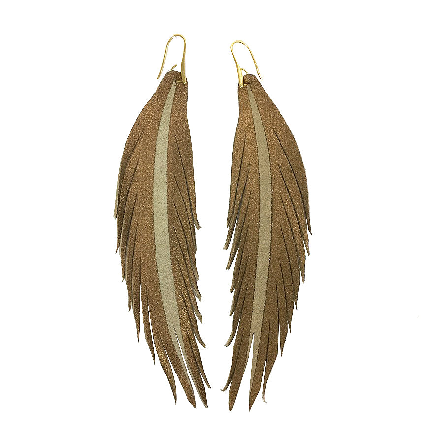 Long Feather Leather Earring - Bronze Painted-Long Feather Leather Earrings-Wholesale-Boutique-Clothing-Accessories