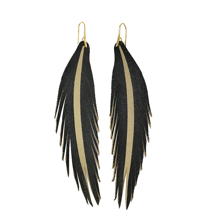 Long Feather Leather Earring - Black Painted-Long Feather Leather Earrings-Wholesale-Boutique-Clothing-Accessories