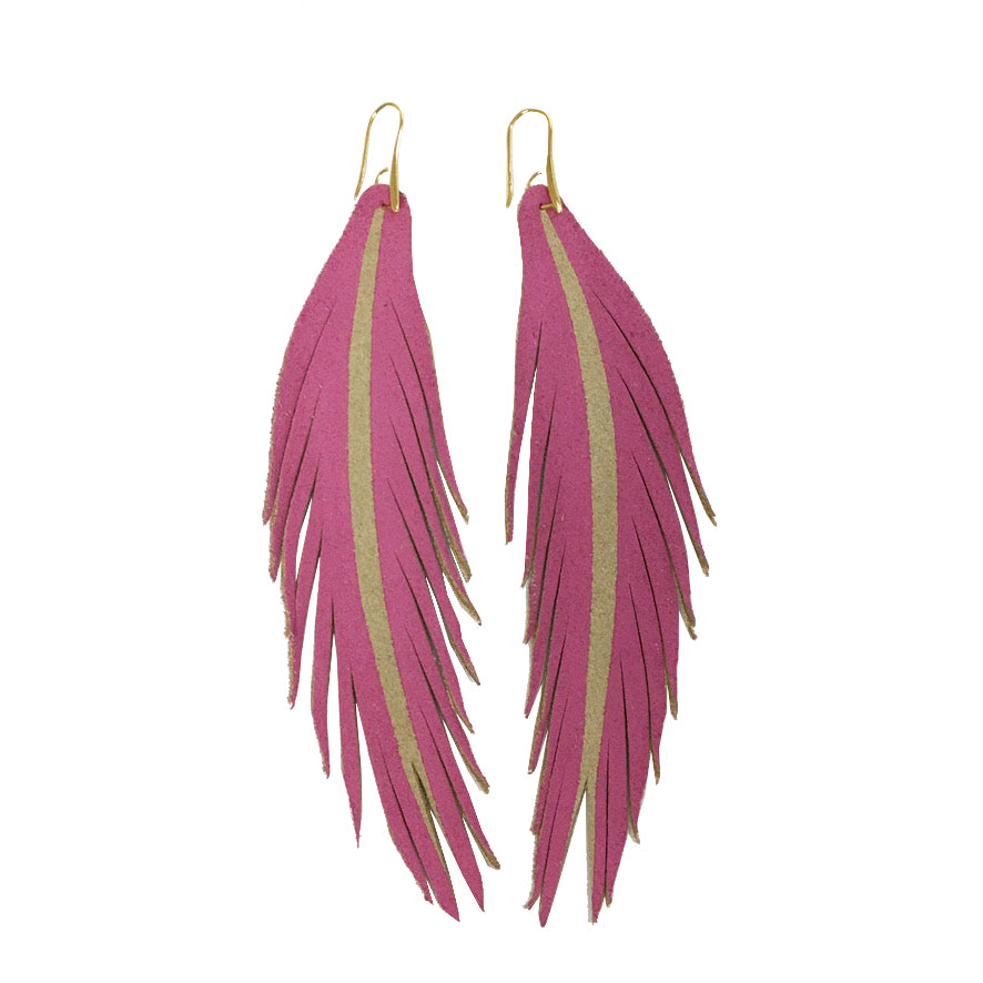 Long Feather Leather Earring - Hot Pink Painted-Long Feather Leather Earrings-Wholesale-Boutique-Clothing-Accessories