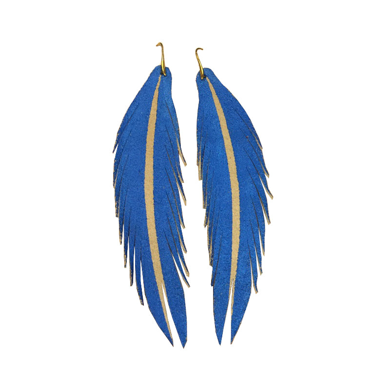 Long Feather Leather Earring - Pacific Blue Painted-Long Feather Leather Earrings-Wholesale-Boutique-Clothing-Accessories