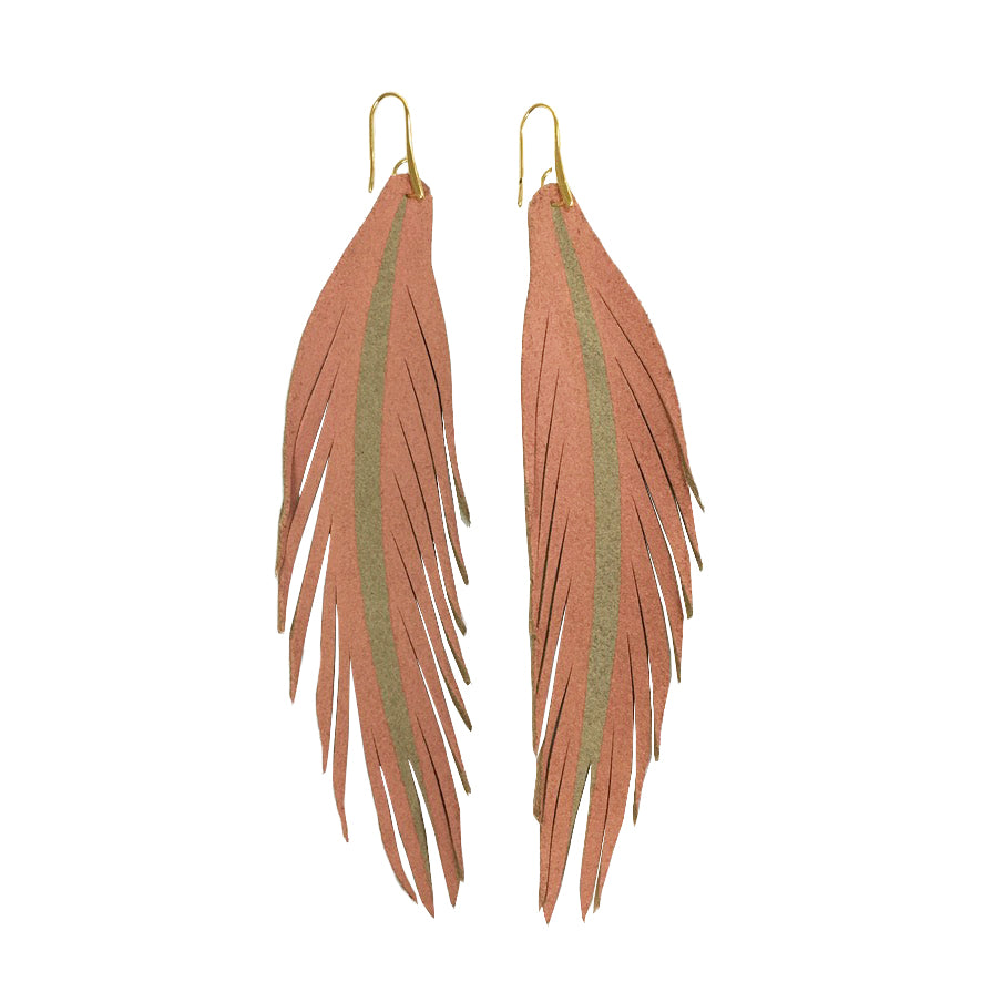 Long Feather Leather Earring - Peach Painted-Long Feather Leather Earrings-Wholesale-Boutique-Clothing-Accessories