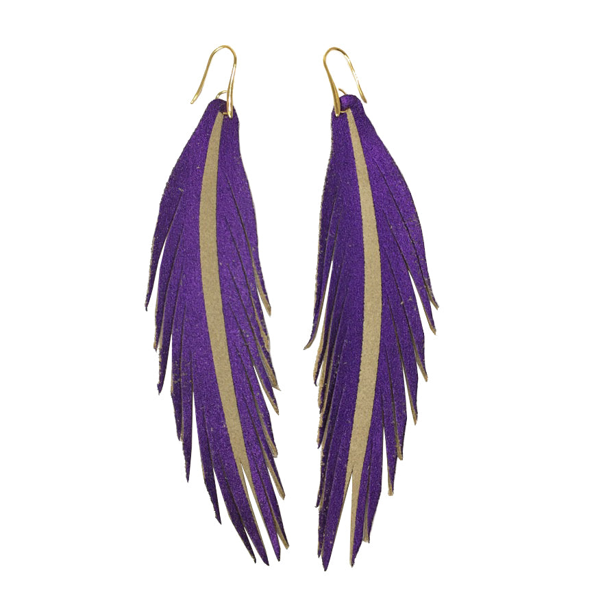 Long Feather Leather Earring - Purple Painted-Long Feather Leather Earrings-Wholesale-Boutique-Clothing-Accessories