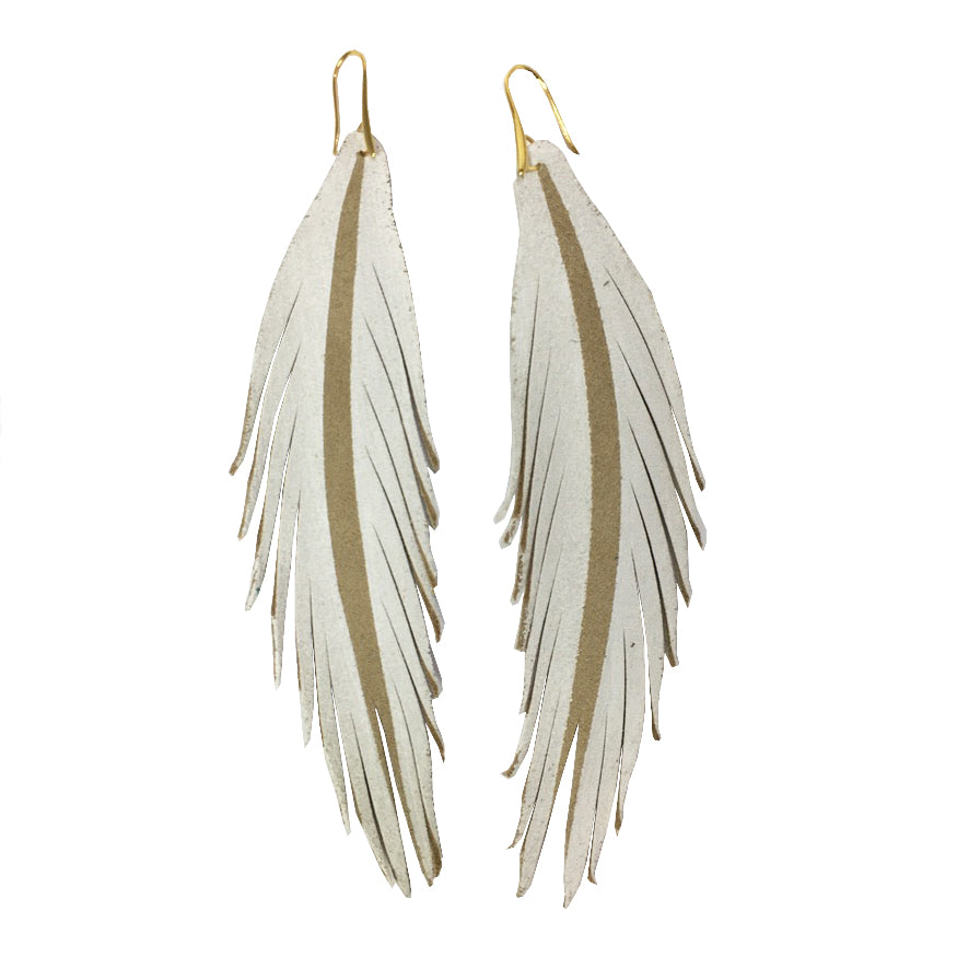 Long Feather Painted Leather Earrings - White Painted-Long Feather Leather Earrings-Wholesale-Boutique-Clothing-Accessories
