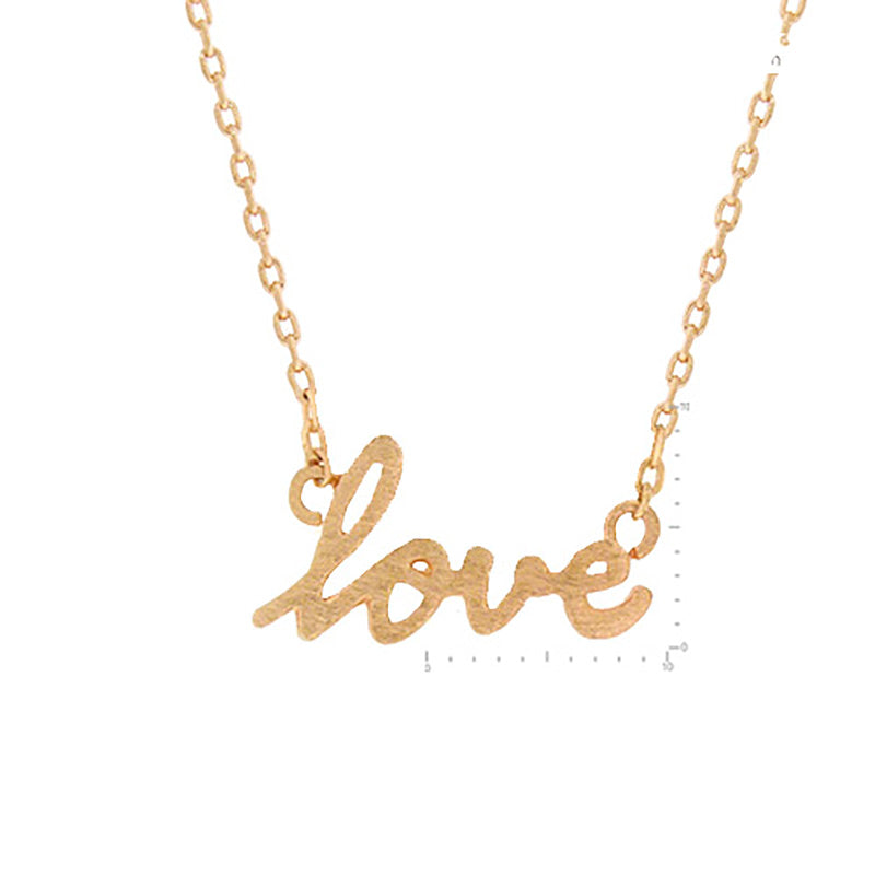 Love Necklace - Brushed Rose Gold-Necklaces-Wholesale-Boutique-Clothing-Accessories
