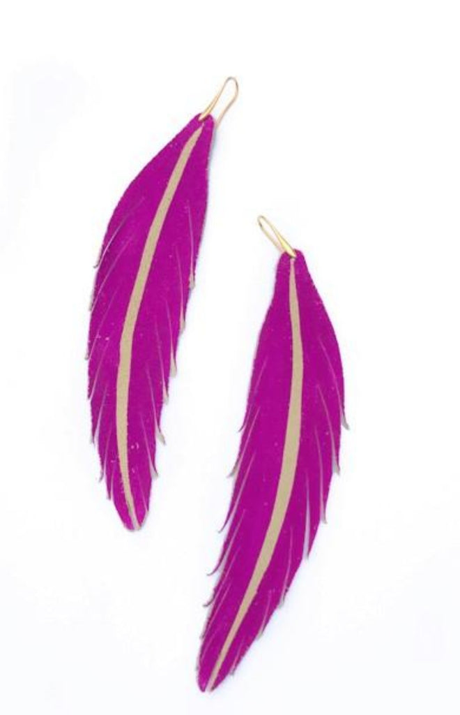Long Feather Leather Earring - Magenta Painted-Long Feather Leather Earrings-Wholesale-Boutique-Clothing-Accessories