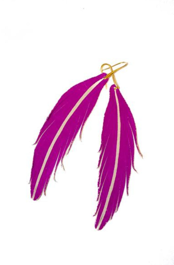 Short Feather Leather Earring - Magenta Painted-Short Feather Leather Earrings-Wholesale-Boutique-Clothing-Accessories