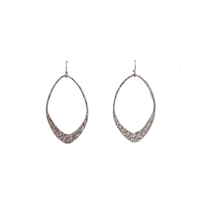 Maria Hammered Metal Diamond Hoop Earrings Worn Silver