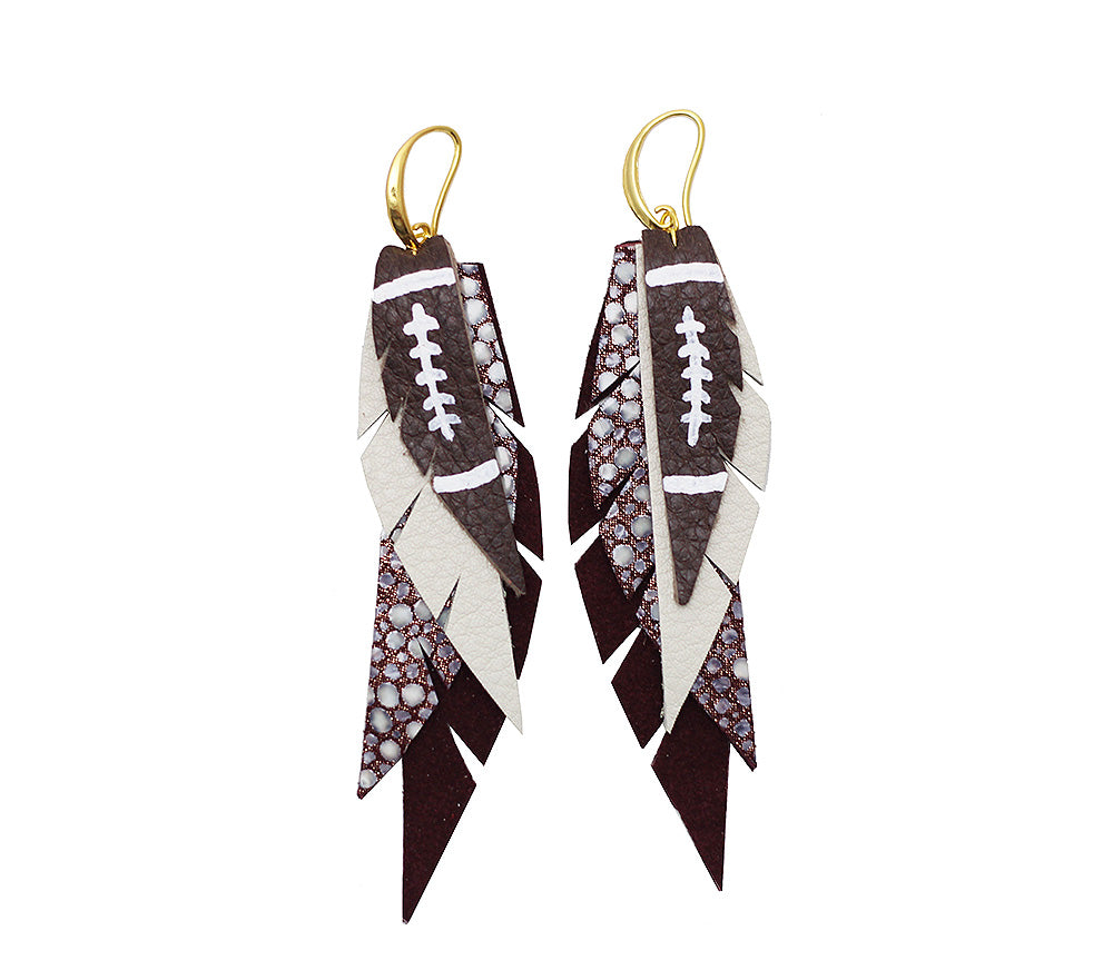 Layered Leather Football Earring- Maroon and White