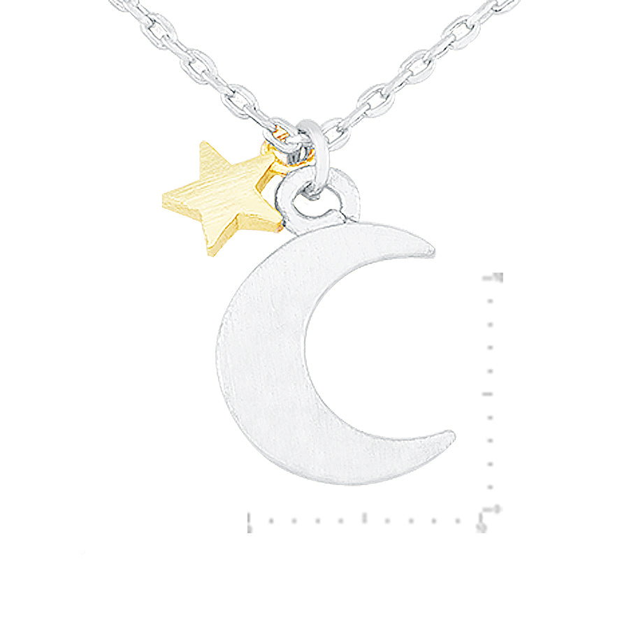Moon Star Charm Necklace - Silver Gold-Necklaces-Wholesale-Boutique-Clothing-Accessories