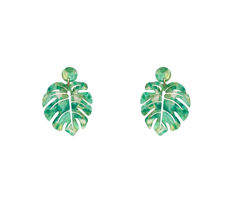 Monstera Leaf Earrings - Green-Earrings-Wholesale-Boutique-Clothing-Accessories