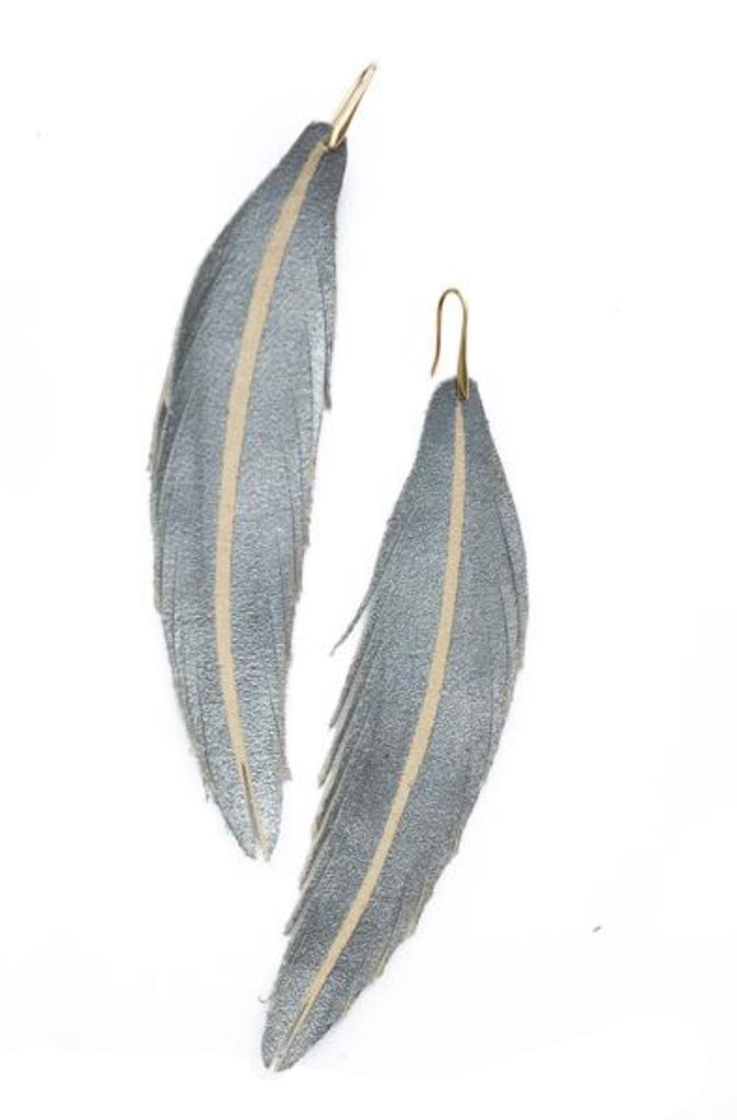 Long Feather Leather Earring - Pewter Painted-Long Feather Leather Earrings-Wholesale-Boutique-Clothing-Accessories