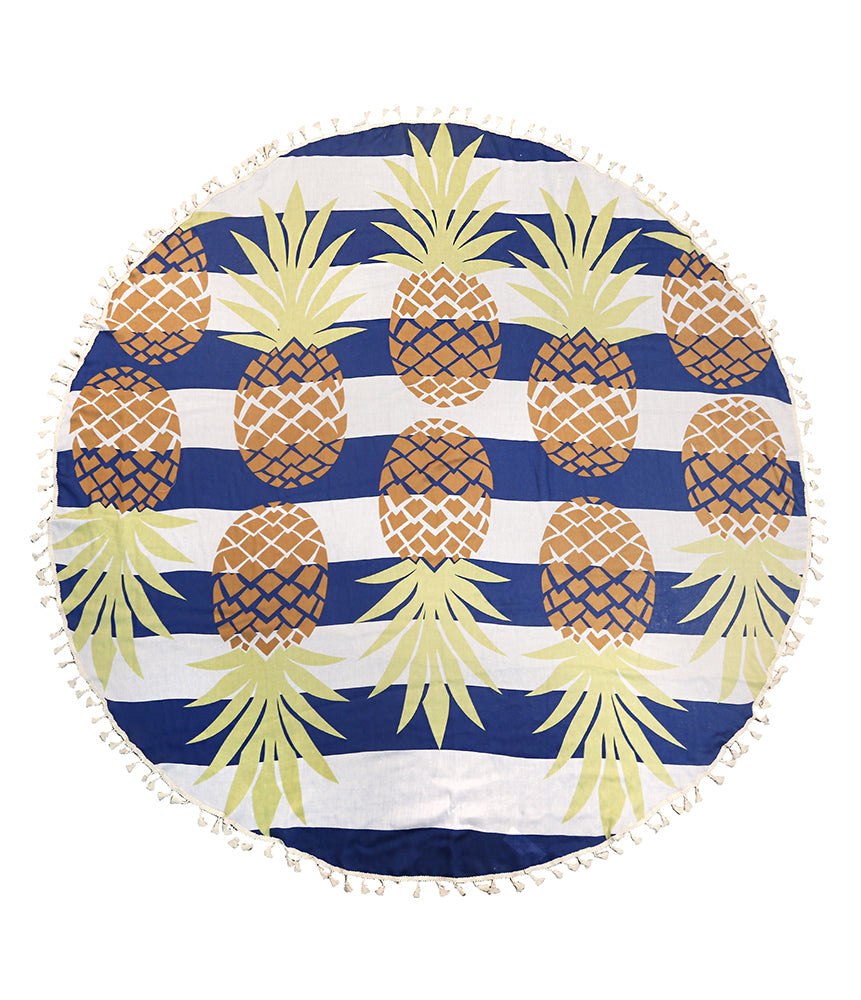 Pineapple Striped Round Beach Throw - Navy-Beach Towels-Wholesale-Boutique-Clothing-Accessories
